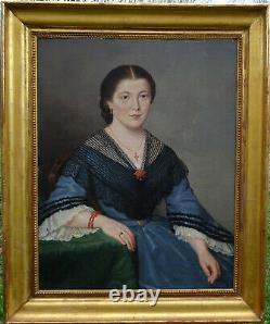 Delatre Portrait de Femme Ecole Française du XIXème siècle Huile sur Toile 1862