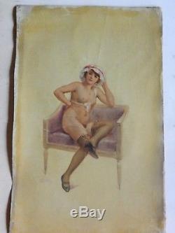 E247-CURIOSA Nu érotisme Huile sur toile signée Armand COL, Belle époque