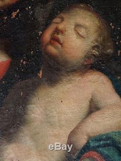 ECOLE ITALIENNE XVIIIeVIERGE A L'ENFANTHUILE S/TOILE A RESTAURER CADRE CHENE