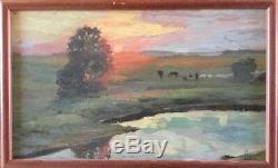 ECOLE RUSSE début XXe. Soleil couchant sur le troupeau. Huile/toile cartonnée. 17x