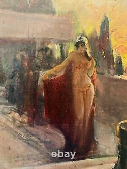 ÉLÉGANTE HUILE SUR TOILE ORIENTALISTE XIXe Danseuse le long du Bosphore