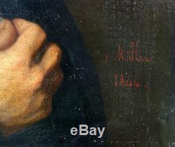 E MULLER Portrait d'homme Epopque Louis Philippe Huile sur toile
