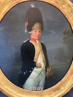 École Française 18e Portrait Dun Jeune Grenadier De La Garde Nationale Louis 16