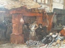 Ecole Francaise Medievale 19e Huile Tableau France Art Personnages Scene Ville