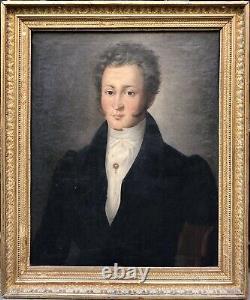 École Française XIXème Huile s/ Toile Portrait dHomme Ép. Restauration Peinture