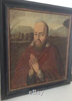 Ecole Française du XVIIe siècle Portrait François de Sales priant Annecy Huile