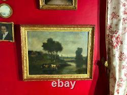Ecole de Barbizon du XIXe siècle signée Huile sur toile avec son cadre doré