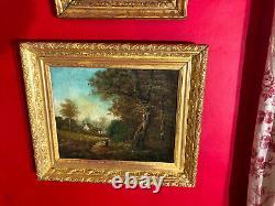 Ecole de Barbizon, huile sur toile du XIXe siècle signé, paysage avec personnage