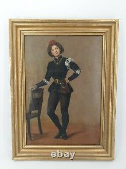 Ecole française XIX ème s, personnage en costume de la renaissance