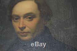 Ecole francaise XIX portrait d´ homme à restaurer