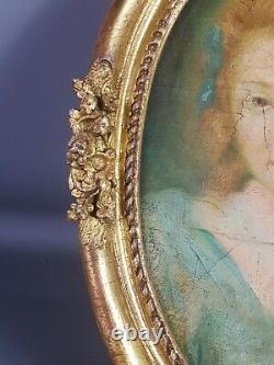 Ecole française XIXe siècle huile sur toile Portrait de jeune fille