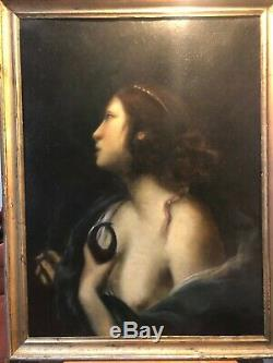 Ecole italienne XIXè Femme en buste (Sainte Agathe) Huile sur toile