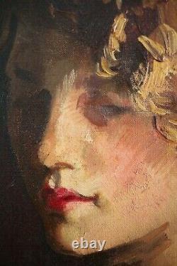 Edouard Claes, XIXe Siècle, Portrait, Jeune femme, Huile sur toile, Beau format