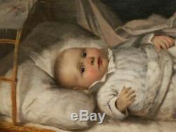 Eduard KURZBAUER peintre autrichien tableau huile portrait enfant bébé berceau