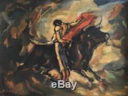 Eduardo Pisano (1912-1989). Corrida. Huile sur toile. V241