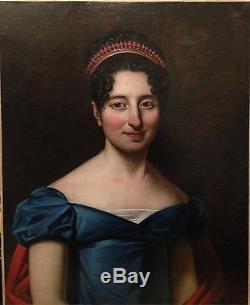 Elégant portrait de femme, huile sur papier marouflé sur toile, début XIXe signé