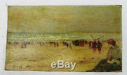 Eleanor BOUDINVers 1900Huile sur toile scène de plageDeauville, Le Havre