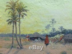 Emile BOIVIN (1846-1920) Campement dans le désert. Huile sur toile. Signée RARE