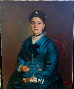 Emile Leclercq Portrait de Femme Ecole Belge fin XIXème siècle Huile sur Toile