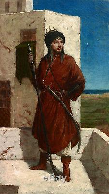 Entourage Jean-Léon Gérôme tableau orientaliste soldat turc ottoman perse huile