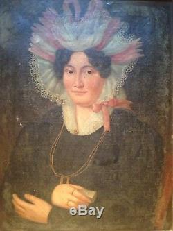 Epoque Restauration Portrait Femme de Qualité au Ruban rose Huile A Restaurer