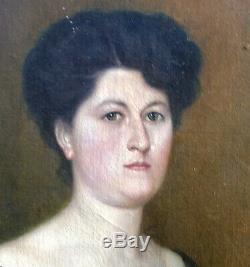 Etienne Furlaud Grand Portrait de femme Huile sur toile début XXème siècle