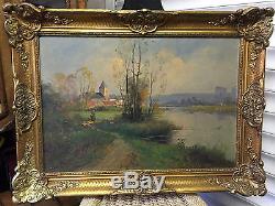 Eugène galien laloue tableau Huile sur toile signé Dumoutier XIXe barbizon