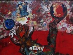 Exceptionnelle huile par Henri D'Anty1910-1998 Le clown jongleur