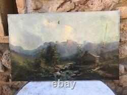 F. JOUANY & Huile sur toile & FRANCE & Paysage de Montagne & Rivière & Chalet