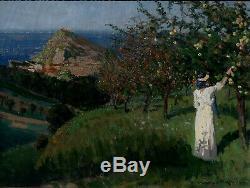 F. M De Buzon 1879-1958. Grande & Magnifique Toile 1914. Paysage Méditerranéen