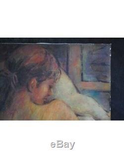 Femme nue allongée huile sur toile oil painting etude fauvisme post impres