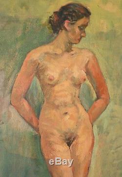 Femme nue grande peinture signée Maurice MINSART (1894-1976) datée 1955