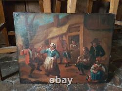 Fête de Village, Tableau époque XVIII ème, HST