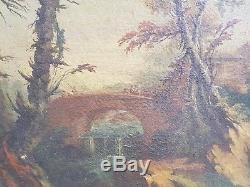Fin XVIII ème s, paysage animé, huile sur toile