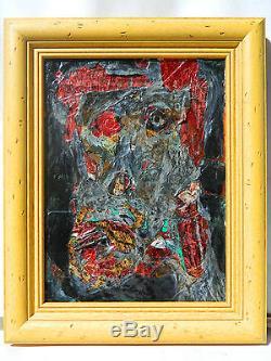 François OZENDA 1923-1976 HOMME Tableau Peinture Huile COLLAGE PAYSAGE ART BRUT