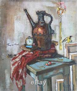 Françoise ADNET (1924-2014) HsT Années 70' Nle Ecole de Paris Jeune Peinture