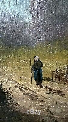 Friedrich Ferdinand KOCH GRANDE HUILE SUR TOILE PAYSAGE BARBIZON ARBRES FIN XIXe