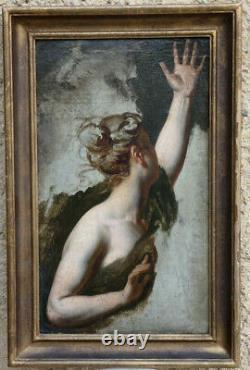 GRANDE & MAGNIFIQUE PEINTURE XIXe. ART NÉOCLASSIQUE & ROMANTIQUE. ÉTUDE DE FEMME