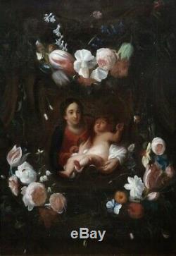 GRANDE & MAGNIFIQUE TOILE XVIIIe. LA MADONE A L'ENFANT AVEC GUIRLANDE DE FLEURS