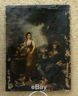 GRAND & BEAU TABLEAU A RESTAURER XIXe. JÉSUS-CHRIST AU PUITS AVEC LA SAMARITAINE