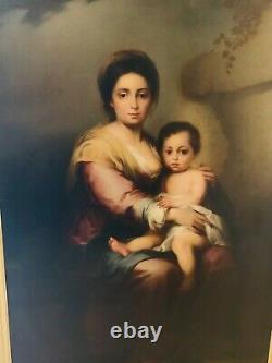 GRAND FORMAT SUPERBE HUILE SUR TOILE La mère et l'enfant datant du XVIIIe