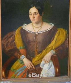 GRAND Portrait de Femme Epoque Charles X Huile sur Toile XIXème siècle