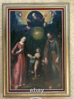 GREGORIO BAUSA 1590-1656. TRÈS GRANDE TOILE XVIIIe XIXe. LA SAINTE FAMILLE