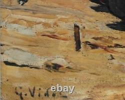 GUSTAVE VIDAL Huile sur toile- Port de pêcheurs, St Tropez v1309