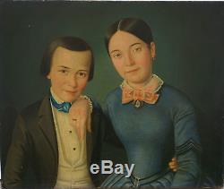 G Reiske Portrait de famille Huile sur toile XIXème siècle Ecole Française