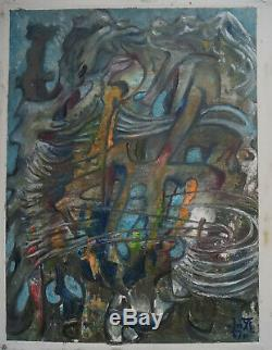 G. VON DER LOO (1911/1996) Huile COMPOSITION ABSTRAITE Signé