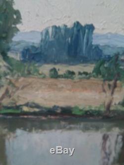 Gaston Balande huile sur toile bords de seine a Dennemont prés de Mantes 1925/30