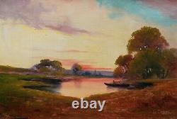 Gaston CORBIER tableau paysage CHARENTES SAINTONGE huile toile crépuscule soir