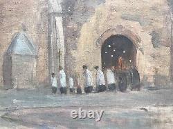 Georges Le Febvre Procession Église De Cancale Huile Sur Toile symbolisme