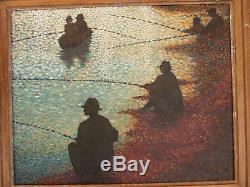 Georges SEURAT HUILE sur TOILE pointillisme PECHEURS impressionnisme